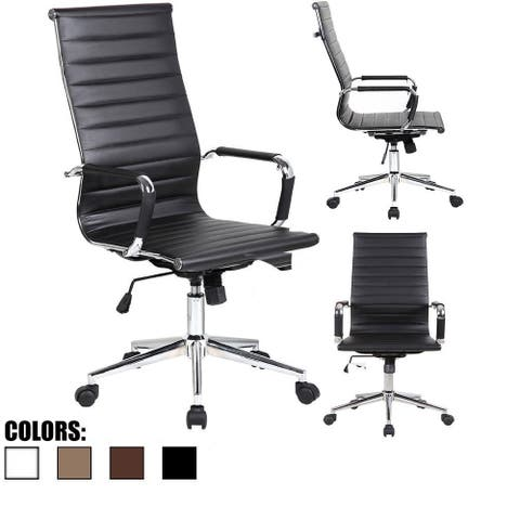 Modern High Back Office Chair Ribbed PU Leather Tilt Adjustable Conference Room Home