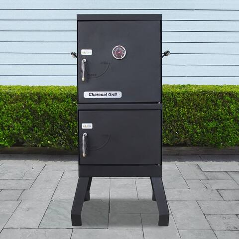 ALEKO Vertical Offset BBQ Charcoal Smoker with Temperature Gauge
