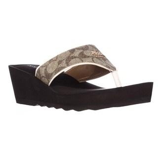 Coach Janice Thong Wedge Sandals - Khaki/Chalk