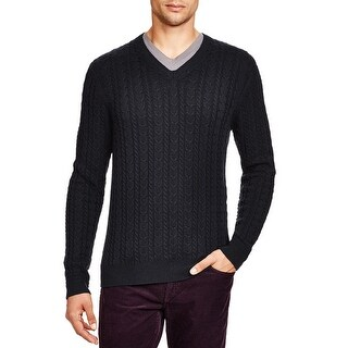 Bloomingdales Mens Wool & Cashmere Cable V-Neck Sweater Medium M Dark Charcoal