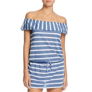 Splendid Womens Casual Dress Off-The-Shoulder Striped