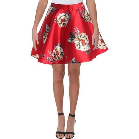 City Studio Womens Juniors A-Line Skirt Woven Floral Print - Red/Black