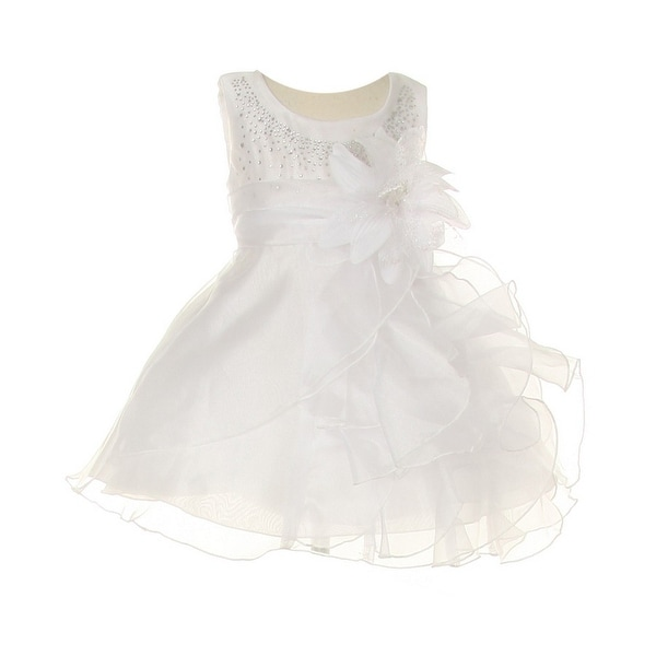 Cinderella Couture Baby Girls White Crystal Organza Cascade Ruffle Dress 6-24M