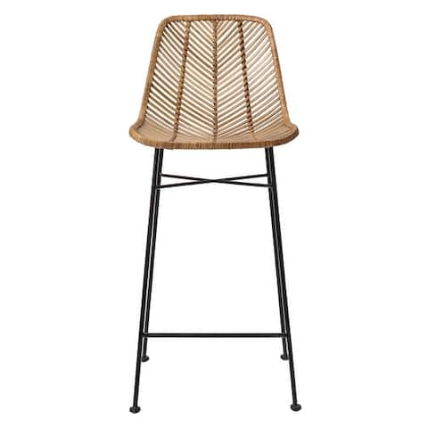 Rattan Bar Stool with Metal Frame