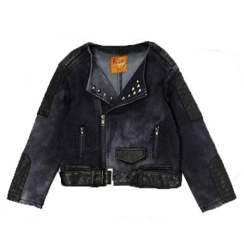 Rock'nStyle Little Girls Dark Blue Black Belt Studded Detail Denim Jacket