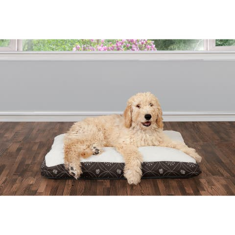 FurHaven Pet Bed Faux Sheepskin & Flannel Paw Decor Print Deluxe Pillow Dog Bed