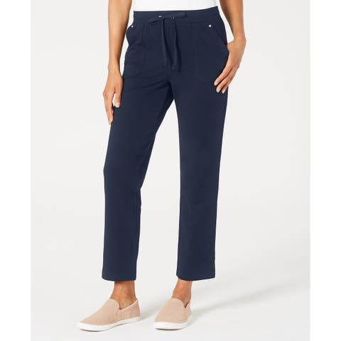 Karen Scott Women's French Terry Pants Navy Size Small