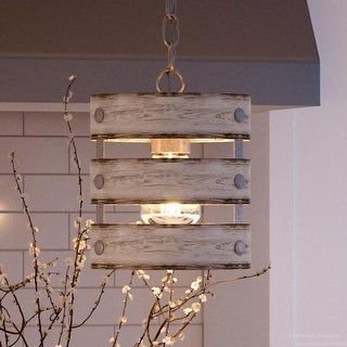 """Luxury Modern Farmhouse Pendant Light, 10""""H x 8.5""""W, with Rustic Style, Galvanized Steel Finish by Urban Ambiance"""