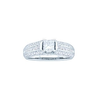 1 Ct Diamond 3/8Ct Center Princess Bridal Engagement Ring 14K White-Gold
