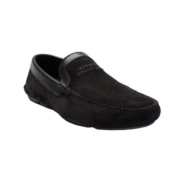 100% Authentic Versace Collection Men's Suede Leather Logo Driving Shoes Black Mens Black Versace Mens Men / Shoes