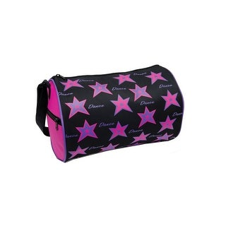 "Danshuz Girls Fuchsia Star Screen Print Microfiber Dance Duffel Bag 12""x 8"" - One size"