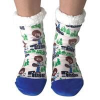 Women's Bob Ross Slipper Socks, Warm Thick Fleece Lined - Happy Trees