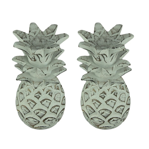 Weathered White Carved Wood Tropical Pineapple Decor Statues Set of 2 - 9.5 X 4.75 X 4.75 inches
