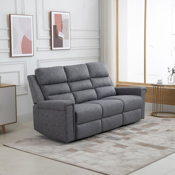 HOMCOM Modern 3 Seater Manual Reclining Sofa Lounger with Easy Pull Handles, and Adjustable Footrest - 80*39.75*36.5. Opens flyout.