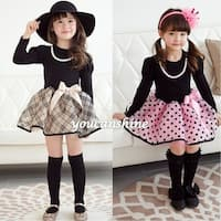 Fashion Toddler Kid's Baby Girl Princess Bow Knot Plaid Polka Dot Tops Tutu Skirt Pettiskirt Long Sleeve Dress 2-7T