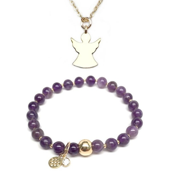 "Purple Amethyst 7"" Bracelet & Angel Gold Charm Necklace Set"