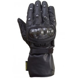 Motorcycle Carbon Fiber Knuckle 100% Drum Dyed Cowhide Winter Glove Black MG1