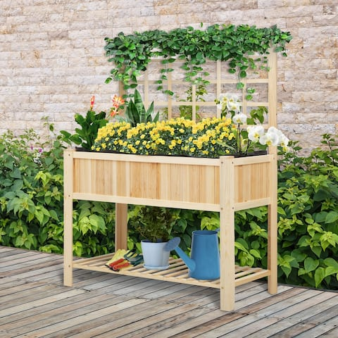 """Outsunny 47"""" x 23"""" x 35"""" Wooden Raised Garden Planter Bed with Rear Grid Wall & a Spacious Planting Area for Vegetables"""