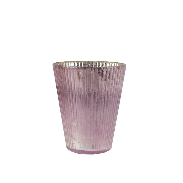 """Set of 4 Purple and Silver Ribbed Mercury Glass Decorative Votive Candle Holders 4.25"""""""