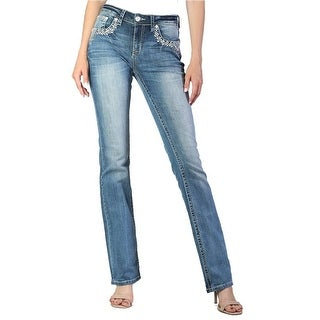 Grace in LA Denim Jeans Womens Bootcut Aztec Med Wash