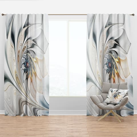Designart 'White Stained Glass Floral' Modern Curtain Panels