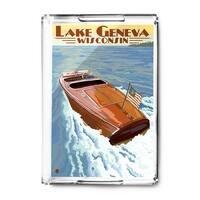 Lake Geneva, Wisconsin - Chris Craft Wooden Boat - Lantern Press Artwork (Acrylic Serving Tray)