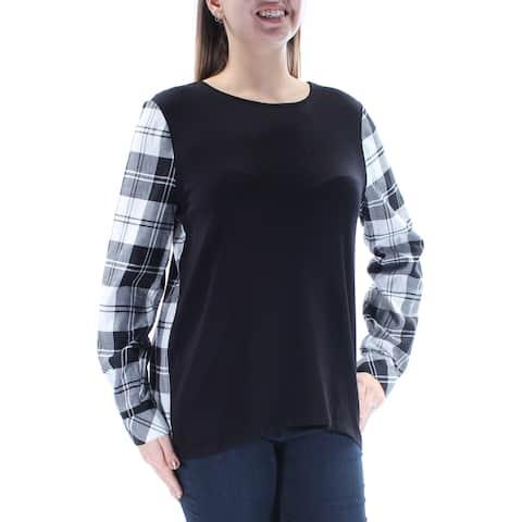 BASS Womens Black Plaid Long Sleeve Jewel Neck Top Size: L