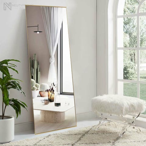 Neutypechic Accent Metal Frame Full-Length Wall-Mounted Hanging Mirror