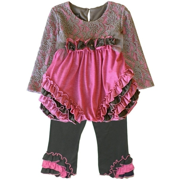 Isobella & Chloe Baby Girls Pink Grey Lace Ruffle Vanessa Pants Outfit 12-24M