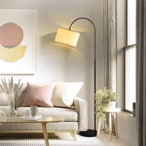 """Archiology RUE 66"""" Arc Floor Lamps w/ White Linen Shade Marble Base - White/Black"""