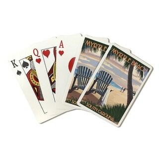 Myrtle Beach, South Carolina - Adirondack & Palms - Lantern Press Artwork (Poker Playing Cards Deck)