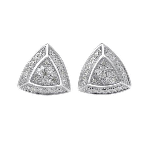 .925 Sterling Silver Diamond-Accented Trillion Shaped 4-Stone Halo-Style Stud Earrings (H-I Color, I2-I3 Clarity)