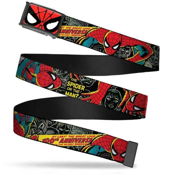 Marvel Comics Spider Man Face Close Up Fcg Chrome The Amazing Spider Web Belt