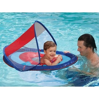 """36"""" Blue and Red Swimming Pool Step 1 Baby Spring Float with 50 UPF Sun Canopy"""