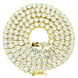 Custom Made Tennis Link Necklace Simulated Diamonds Gold Finish Over 925 Sterling SIlver