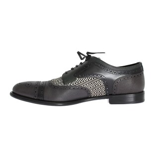 Dolce & Gabbana Dolce & Gabbana Gray Blue Leather Pony Oxford Shoes - eu44-us11
