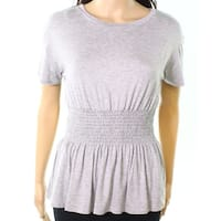 Moa Moa Heather Womens Medium Smocked-Detail Knit Top