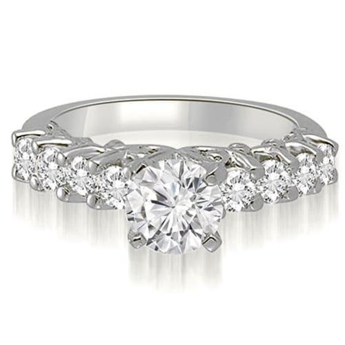 1.80 cttw. 14K White Gold Round Cut Diamond Engagement Ring