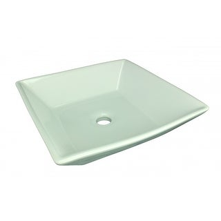 Bathroom Square Above Counter Vessel Sink White Porcelain Art Basin