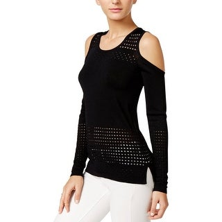 Guess Womens Casual Top Laser Cut Cold Shoulder