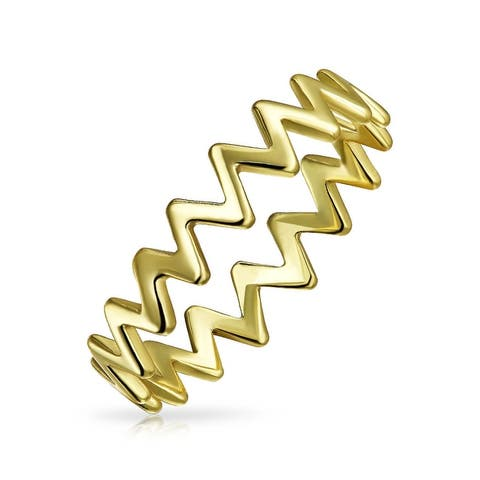 1MM Band Chevron Midi Knuckle Ring 14K Gold Plate 925 Sterling Silver