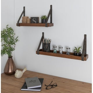 Kate and Laurel Sudbury Wood and Metal Wall Shelf Set - 2 Piece