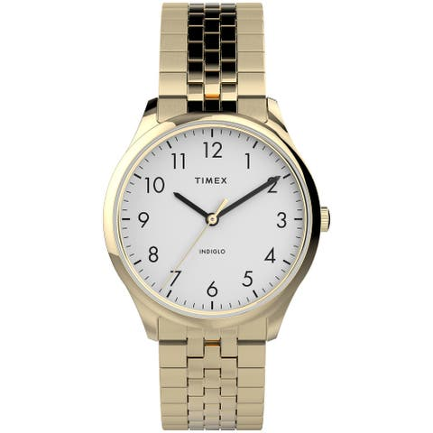 Timex Women's Modern Easy Reader 32mm Watch - Gold-Tone Case White Dial with Expansion Band - One Size - One Size