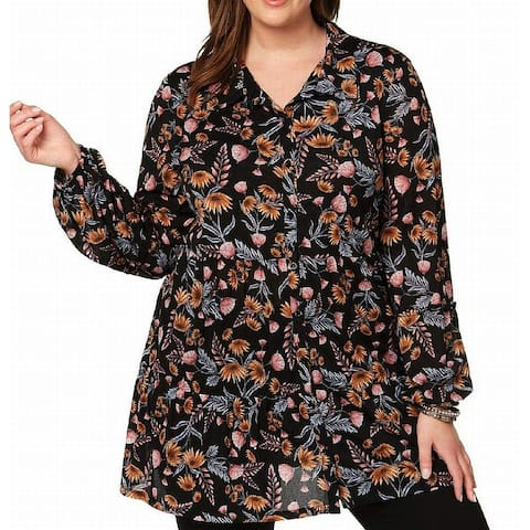 Style & Co. Women's Black Size 3X Plus Floral-Printed Button Down