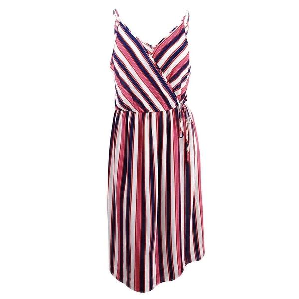 Shop Soprano Women\'s Trendy Plus Size Striped Faux-Wrap Dress (1X ...