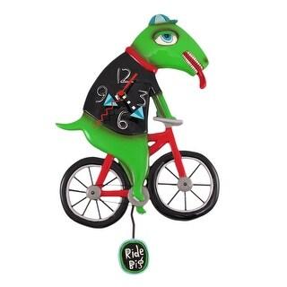 Allen Designs `Ride Big Bike` Dinosaur Bicycle Pendulum Wall Clock