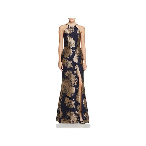 AVERY G Womens Navy Darted Slitted Gold Leaf Halter Full Length Empire Waist Wear To Work Dress Size: 4