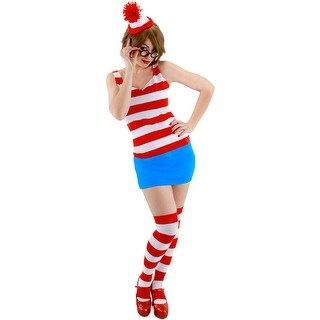 Elope Where's Waldo Wenda Dress Adult Costume (S/M) - Red/White - Small/Medium