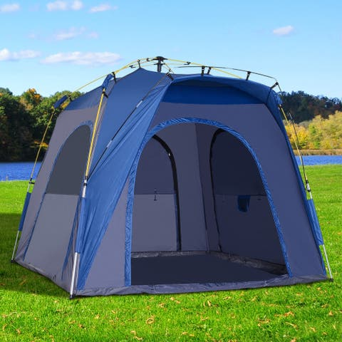 Outsunny 3-Season 5-Person Automatic Pop Up Outdoor Yurt Canopy Camping Tent w/ Easy Hydraulic Poles & Quality Materials