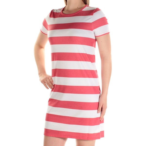 a3588ab56 Shop MICHAEL KORS Womens White Striped Short Sleeve Jewel Neck Above The  Knee Shirt Dress Dress Plus Size  M - Free Shipping On Orders Over  45 -  Overstock ...
